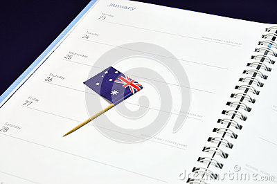 Save the date diary journal for January 26, Australia Day holiday.