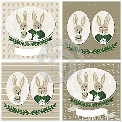 Rabbit portraits wedding card set