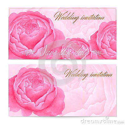 Vector: Save The Date Wedding invitation / Floral Greeting card (Gift ...