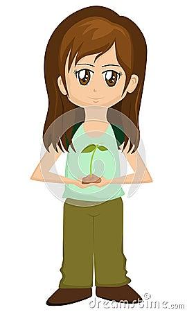 Save the Earth Cartoon Girl
