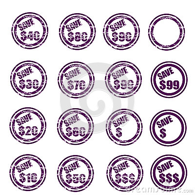 Save $ grunge stamp set