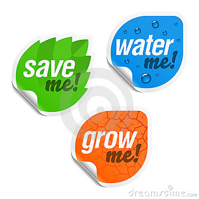 Save me, water me and grow me stickers