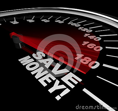 Free Save Money - Discount Sale Words On Speedometer Royalty Free Stock Photography - 31864957