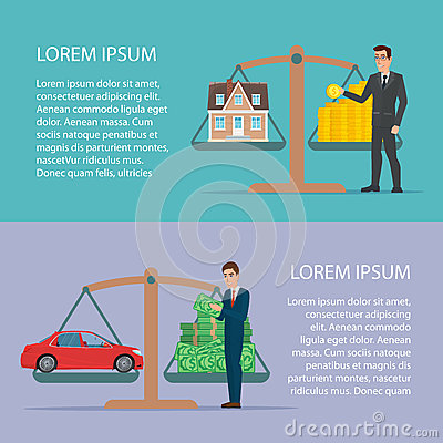 Free Save Money For Car And Home Asset Property By Businessman Flat Stock Image - 80622701