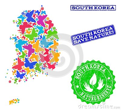 Save Nature Collage of Map of South Korea with Butterflies and Textured Stamps Vector Illustration