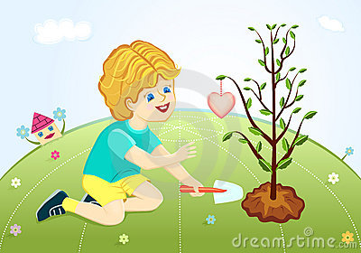 Save our green planet - boy planting love tree