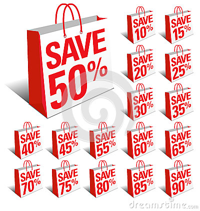 Save Shopping Icon Bags with Percentage Discount