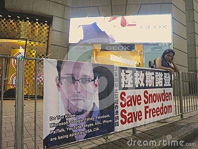Save Snowden, Save Freedom  - Pro Snowden Sign in Hong Kong Editorial Image
