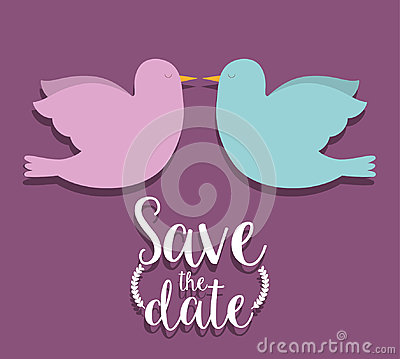 Free Save The Date And Couple Of Doves Design Stock Photos - 78238143