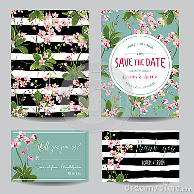 Free Save The Date Card Set. Tropical Orchid Flowers And Leaves Wedding Invitation Stock Photography - 85973192