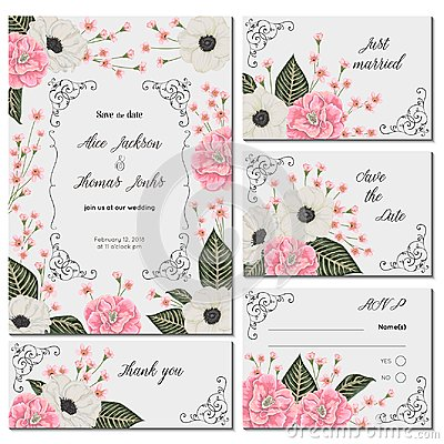 Free Save The Date Card With Pink Camellias, White Anemone Flowers And Alstroemeria. Holiday Floral Design For Wedding Invitation. Royalty Free Stock Image - 108104406