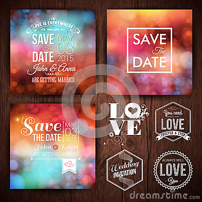 Free Save The Date For Personal Holiday Cards. Wedding Invitation Set Stock Photography - 46311872