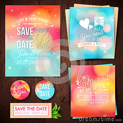 Free Save The Date For Personal Holiday. Set Of Wedding Invitation Ca Stock Images - 41994534