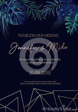 Free Save The Date Invitation On Navy Blue Background With Rose Gold Royalty Free Stock Images - 121720469