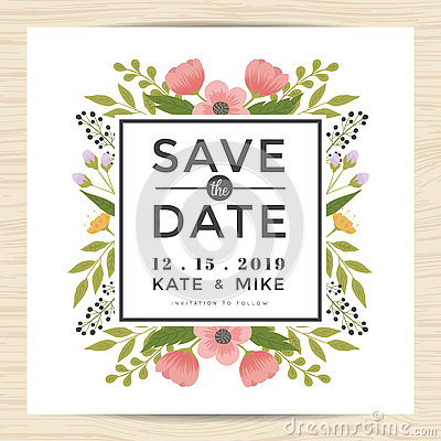 Free Save The Date, Wedding Invitation Card Template With Hand Drawn Wreath Flower Vintage Style. Flower Floral Background. Stock Photos - 76355843