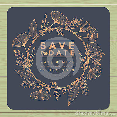 Free Save The Date, Wedding Invitation Card With Wreath Flower Template. Flower Floral Background. Royalty Free Stock Photo - 76313605