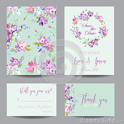 Free Save The Date Wedding Invitation Template With Spring Dogwood Flowers. Romantic Floral Greeting Card Set For Celebration Royalty Free Stock Photos - 104139408