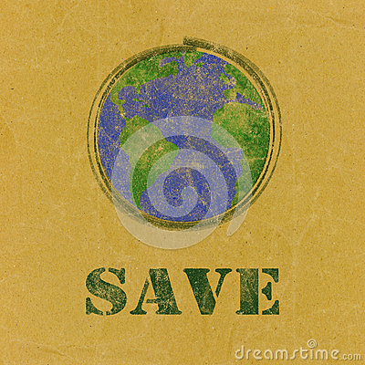 Free Save Word With Earth  On Recycled Paper Stock Photography - 37767002