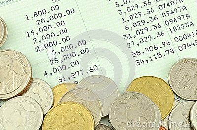 Saving Account Passbook with Thai coins