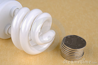Saving electricity lamp and coins