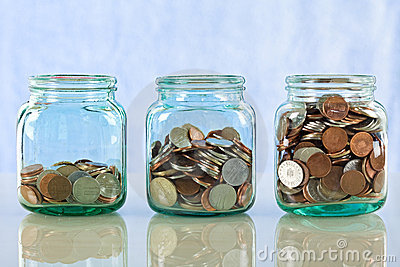 Saving money in old jars