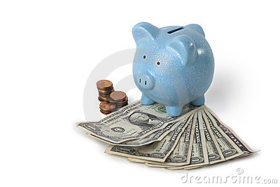 Saving money with piggy bank