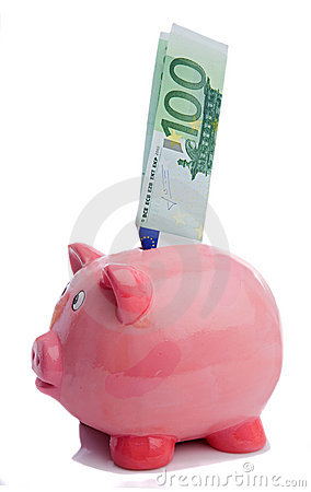 Saving a note of one hundred euros in a piggy-bank