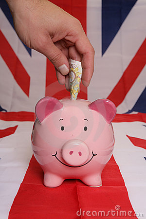 Saving ten pounds with piggybank