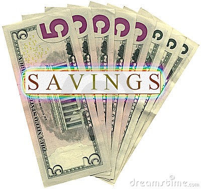 savings in five dollars isolated, wealth