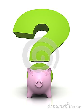 Savings and investment concept with piggybank and a green question mark