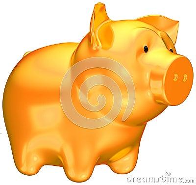 Savings and money: Golden piggy bank