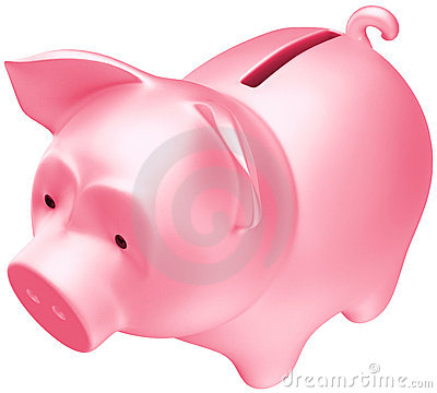 Savings and money: Pink piggy bank
