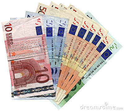 savings wealth, different colorful euro isolated