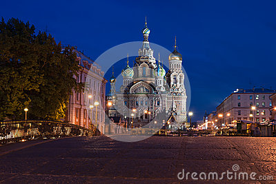 Saviour s cathedral on Blood to St. Petersburg at night