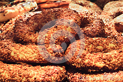 Savory roll covered with sesame seed Turkish simit closeupSavory roll covered with sesame seed Turkish simit close up