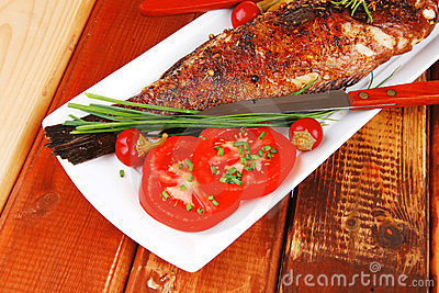 Savory on wood: fryed sunfish