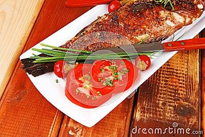 Savory on wood: fryed sunfish