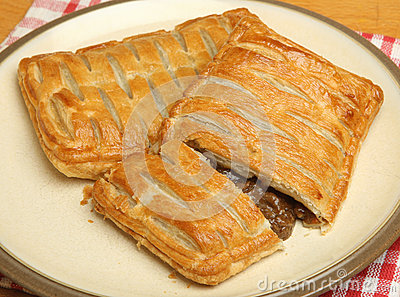Savoury Steak Meat Pastry Slice on Plate