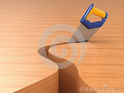 Sawing. Handsaw on wood background