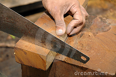 Sawing a wood