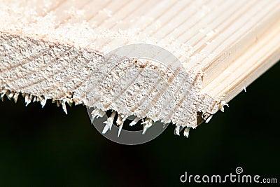 Sawn-off wood plank