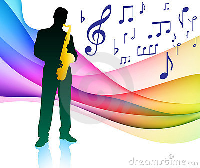 Sax Player on Musical Note Color Spectrum