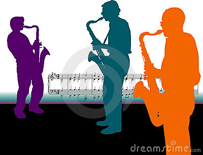Sax players with music notes