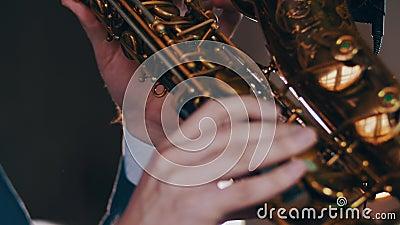Saxofonistspel op gouden saxofoon Leef prestaties Jazzkunstenaar Spotlights stock footage