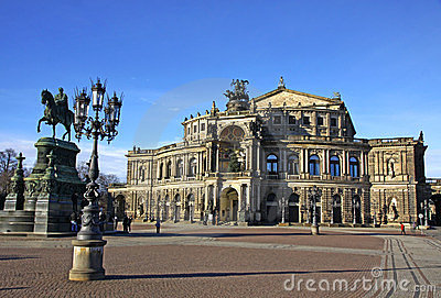 Saxon State Opera house at Theaterplatz in Dresden