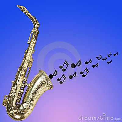 Saxophone with notes silhouetted