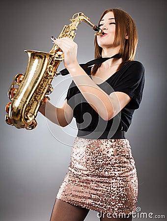 Saxophone player closeup