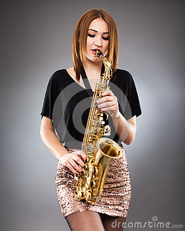 Saxophone player closeup