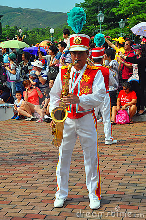 Saxophone player at disneyland Editorial Stock Image