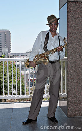Saxophone Player Outdoors
